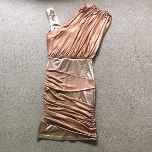 Bebe Rose gold party dress